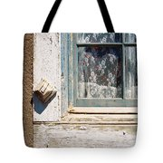 Red Flowers And Lace Curtains Tote Bag