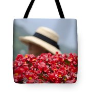 Red Flowers And Straw Hat Tote Bag