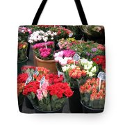 Red Flowers In French Flower Market Tote Bag