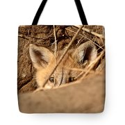 Red Fox Pup Peaking Out Of Den Tote Bag