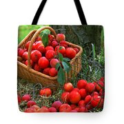 Red Fresh Plums In The Basket Tote Bag