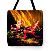 Red Garden Chairs Tote Bag