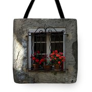 Red Geraniums In Window Tote Bag