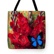 Red Gladiolus And Blue Butterfly Tote Bag