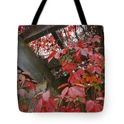 Red Grape Leaves And Beams Tote Bag