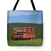 Red Hay Wagon In Green Mountain Field Tote Bag