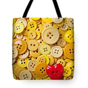 Red Heart And Yellow Buttons Tote Bag