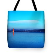 Red Lighthouse In Cayuga Lake New York Tote Bag by Paul Ge