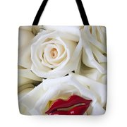 Red Lips And White Roses Tote Bag