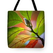 Red Magnolia Leaves With Bud Tote Bag