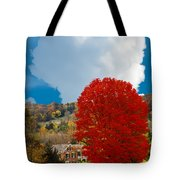 Red Maple White Cloud Tote Bag