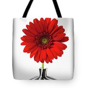 Red Mum In Striped Vase Tote Bag