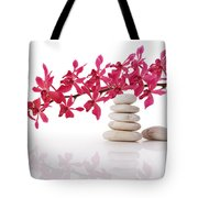 Red Orchid With Balance Stone Tote Bag