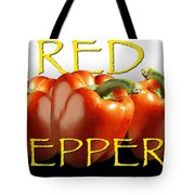 Red Peppers On White And Black Tote Bag