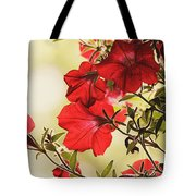Red Petunias Tote Bag