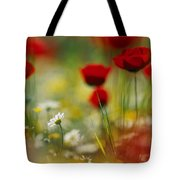 Red Poppies And Small Daisies Bloom Tote Bag