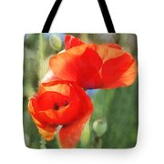 Red Poppies In Sunlight Tote Bag