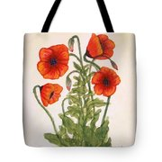 Red Poppies Watercolor Painting Tote Bag