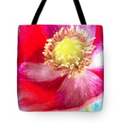 Red Poppy On Blue Tote Bag