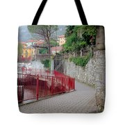 Red Rail Walkway To Varenna Along Lake Como Tote Bag