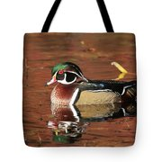 Red Reflection Of A Wood Duck Tote Bag