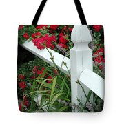 Red Rhododendron And White Post Tote Bag