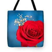 Red Rose And Baby Breath Tote Bag