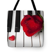 Red Rose And Candy Heart Tote Bag