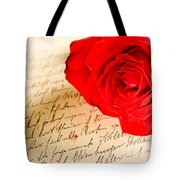 Red Rose Over A Hand Written Letter Tote Bag
