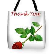 Red Rose Thank You Card Tote Bag