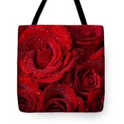 Red Roses And Water Drops Tote Bag