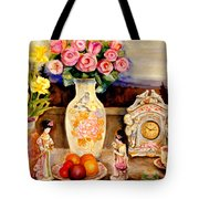 Red Roses Yellow Daffodils In Hand Painted Oriental Antique Vases With Fruit Plate Doves And Angels Tote Bag