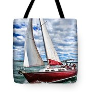 Red Sailboat Green Sea Blue Sky Tote Bag