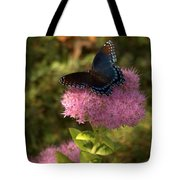 Red Spotted Purple Butterfly On Sedum Tote Bag