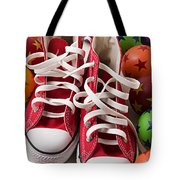 Red Tennis Shoes And Balls Tote Bag