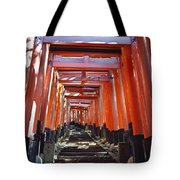 Red Torii Arches Over Steps At Inari Tote Bag