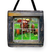 Red Tractor Thru Old Window Tote Bag