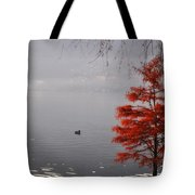 Red Tree On The Lake Front Tote Bag