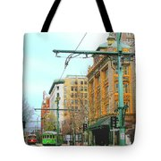 Red Trolley Green Trolley Tote Bag