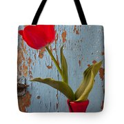 Red Tulip Bending Tote Bag