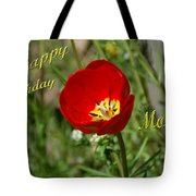 Red Tulip Birthday Tote Bag