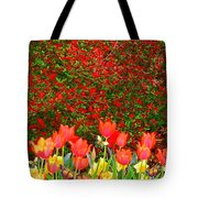 Red Tulip Flowers Tote Bag