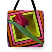 Red Tulip In Box Tote Bag
