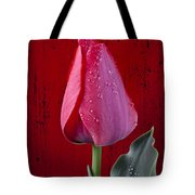 Red Tulip With Dew Tote Bag