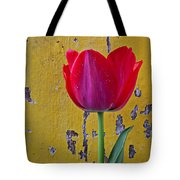 Red Tulip With Yellow Wall Tote Bag