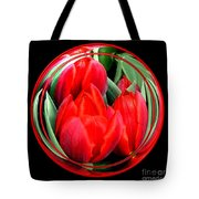 Red Tulips Under Glass Tote Bag
