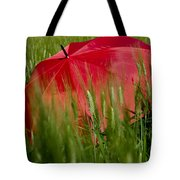Red Umbrella On The Wheat Field Tote Bag