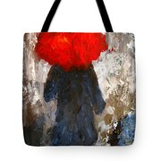 Red Umbrella Under The Rain Tote Bag