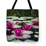 Red Water Lillies Tote Bag