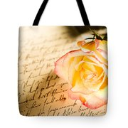 Red Yellow Rose Over A Hand Written Letter Tote Bag